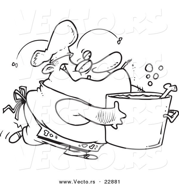 Vector of a Cartoon Gross Chef - Coloring Page Outline