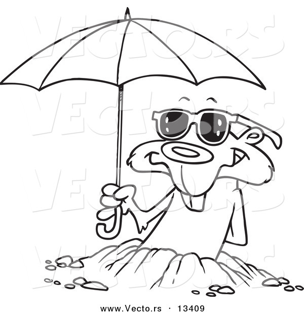 Vector of a Cartoon Groundhog Emerging with Shades and an Umbrella - Coloring Page Outline