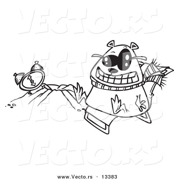 Vector of a Cartoon Groundhog Wearing Shades and Sitting by His Hole - Coloring Page Outline