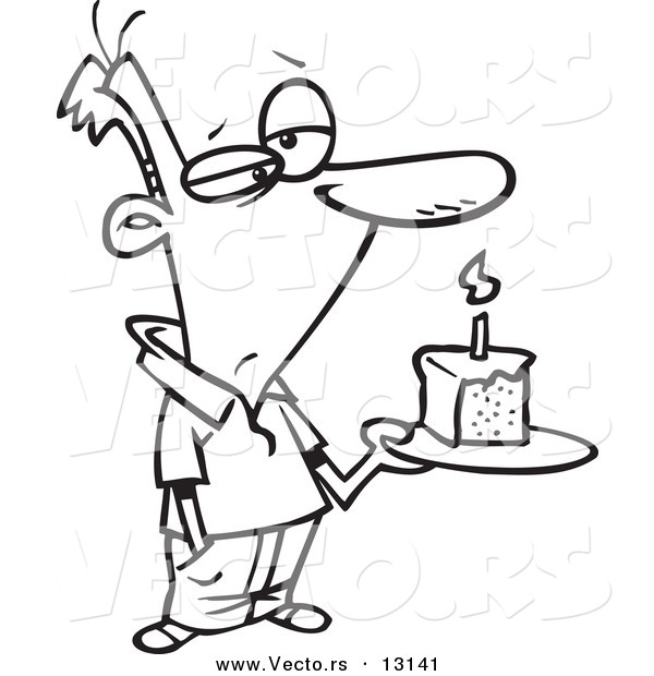 Vector of a Cartoon Grumpy Birthday Man Holding a Slice of Cake - Coloring Page Outline