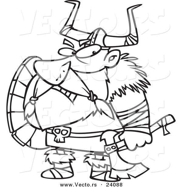 Vector of a Cartoon Grumpy Viking Holding an Axe and Shield - Coloring Page Outline