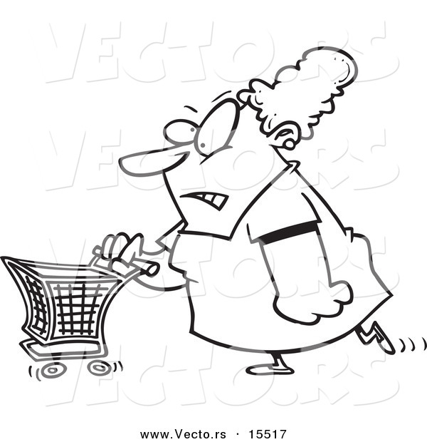 Vector of a Cartoon Grumpy Woman Grocery Shopping - Coloring Page Outline