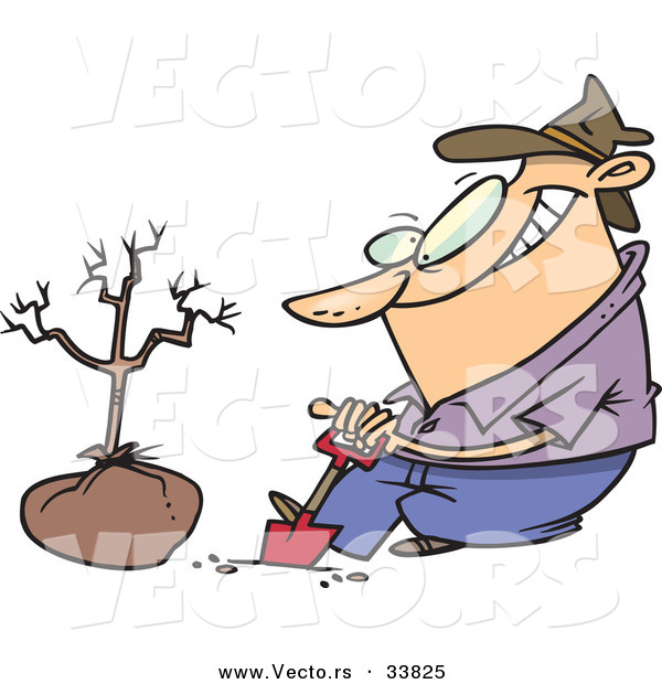 Vector of a Cartoon Guy Digging a Hole with a Shovel Beside a New Tree
