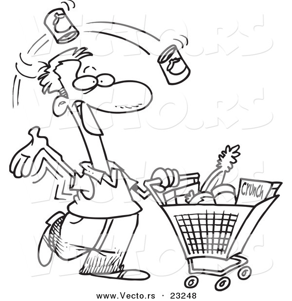 Vector of a Cartoon Guy Grocery Shopping - Coloring Page Outline