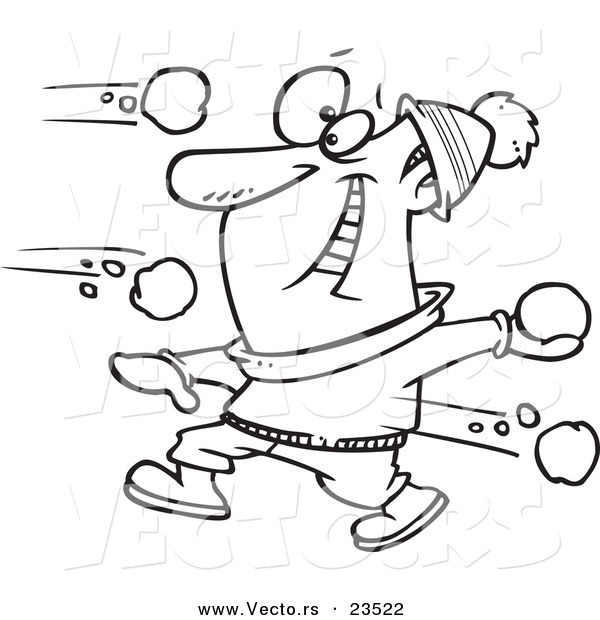 Vector of a Cartoon Guy in a Snowball Fight - Coloring Page Outline