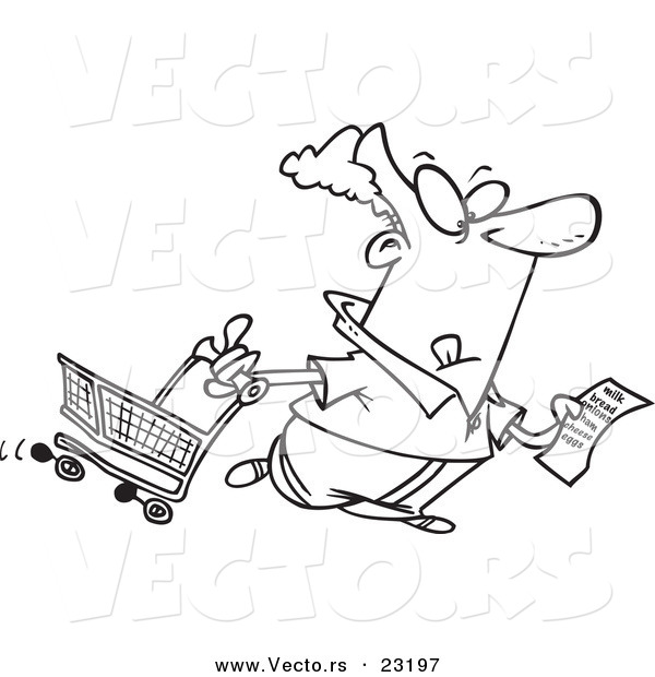 Vector of a Cartoon Guy with a Shopping List - Coloring Page Outline