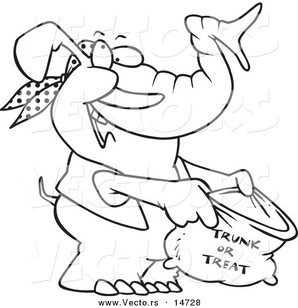 Vector of a Cartoon Halloween Elephant Holding a Trunk or Treat Bag - Coloring Page Outline