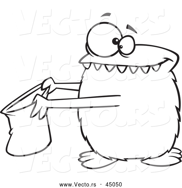 Vector of a Cartoon Halloween Monster Trick-or-Treating - Outline