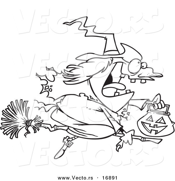 Vector of a Cartoon Halloween Witch Flying on Her Broom - Coloring Page Outline