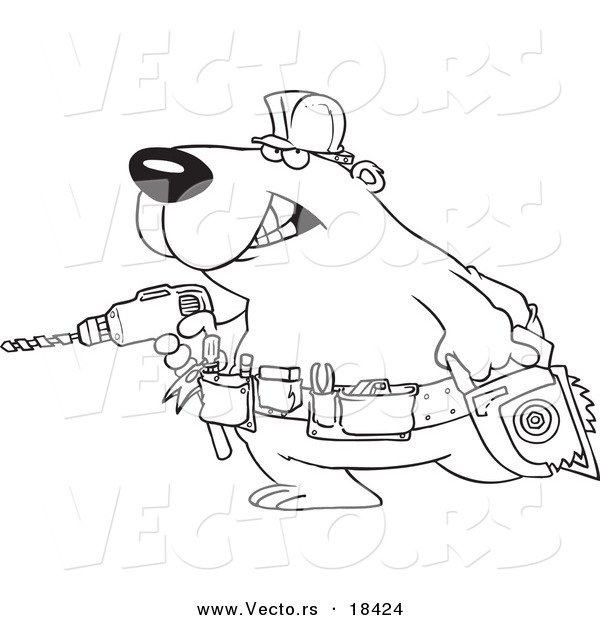 Vector of a Cartoon Handy Bear with Tools - Outlined Coloring Page