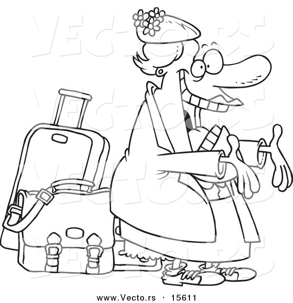 Vector of a Cartoon Happy Auntie Greeting by Her Luggage - Coloring Page Outline