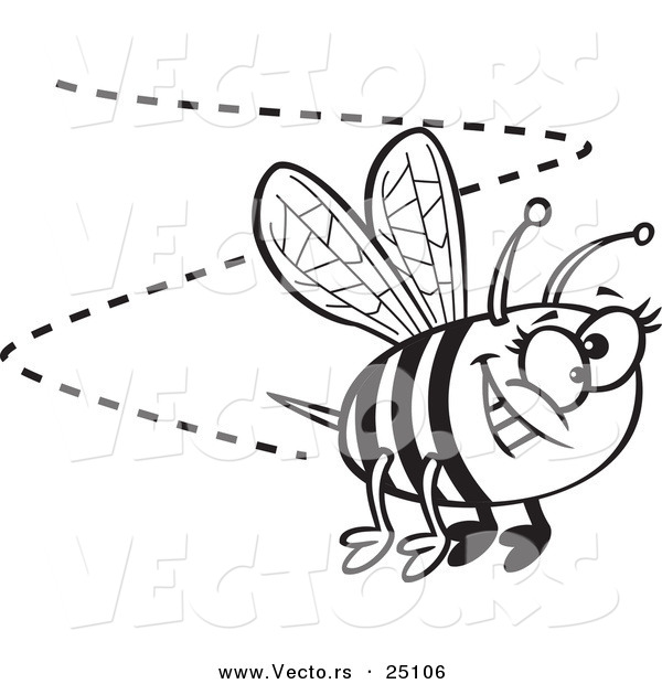 : Vector of a Cartoon Happy Bee Buzzing Around - Coloring Page Outline