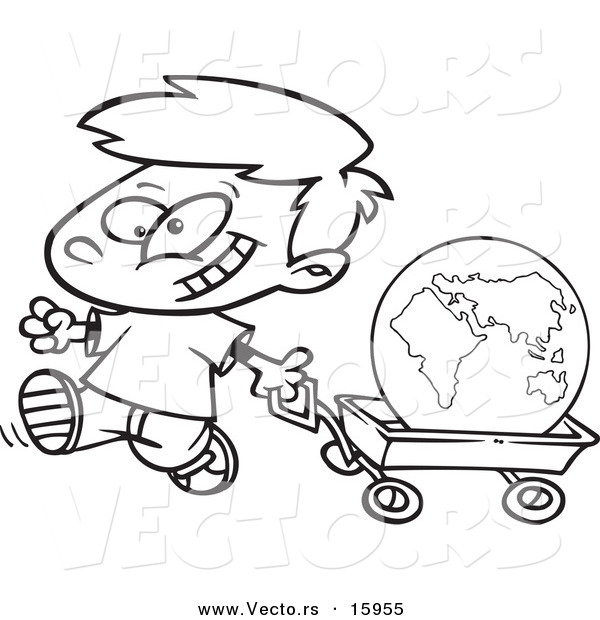 Vector of a Cartoon Happy Boy Pulling the Globe in a Wagon - Outlined Coloring Page Drawing