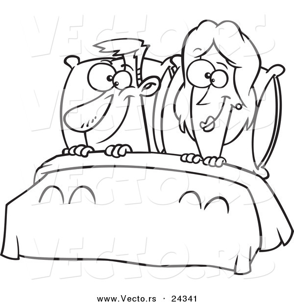 Vector of a Cartoon Happy Couple in Bed - Outlined Coloring Page