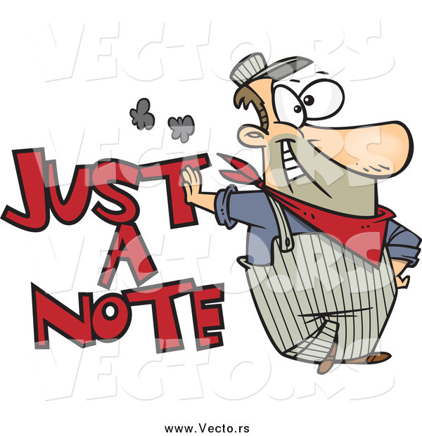 Vector of a Cartoon Happy Engineer Leaning on Just a Note Text