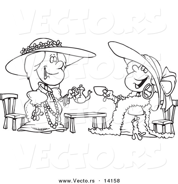Vector of a Cartoon Happy Girls Playing Dress up at Tea Time - Coloring Page Outline