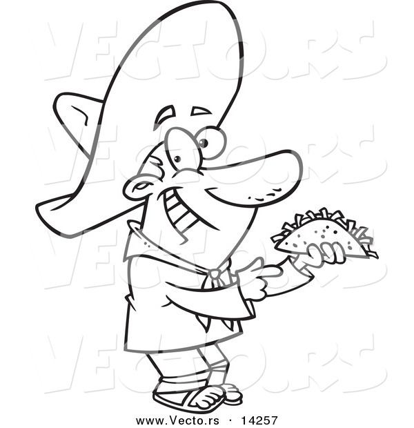 Vector of a Cartoon Happy Hispanic Man Holding a Taco - Coloring Page Outline