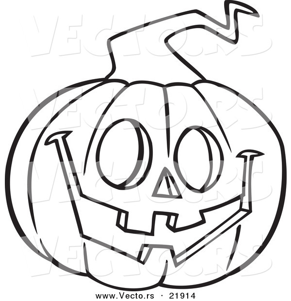 Vector of a Cartoon Happy Jackolantern - Outlined Coloring Page