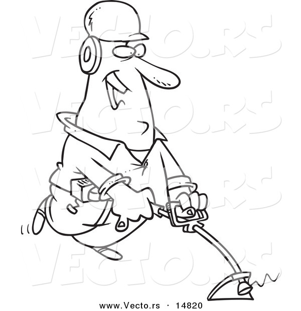 Vector of a Cartoon Happy Landscaper Using a Weed Wacker - Coloring Page Outline