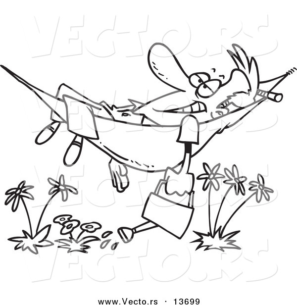 Vector of a Cartoon Happy Man Relaxing in a Hammock and Watering His Flowers - Coloring Page Outline