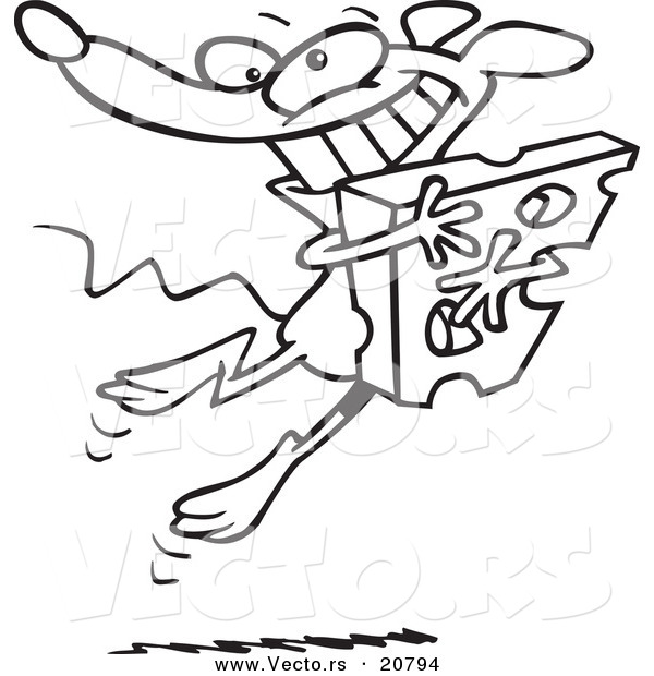 Vector of a Cartoon Happy Mouse Hugging Cheese - Coloring Page Outline
