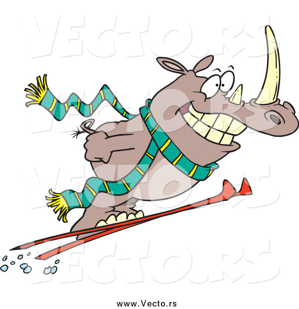 Vector of a Cartoon Happy Skiing Rhino Catching Air