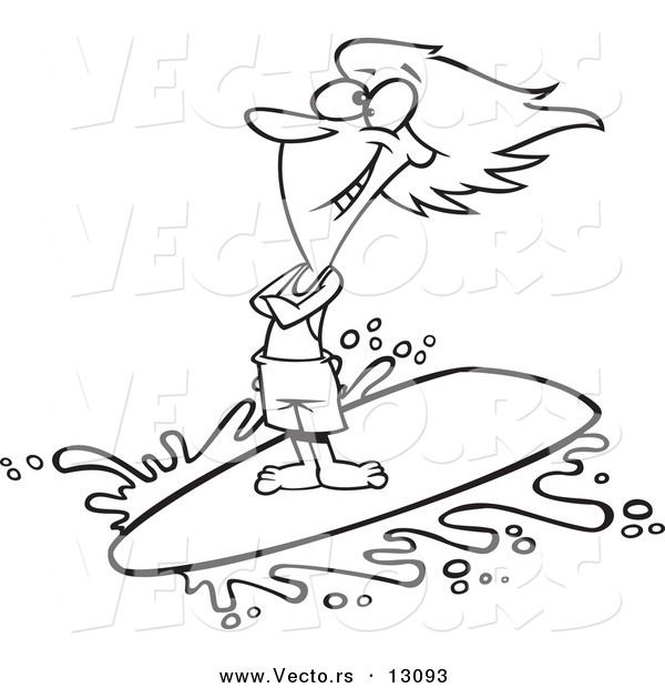 Vector of a Cartoon Happy Surfer Girl Riding a Wave - Outlined Coloring Page