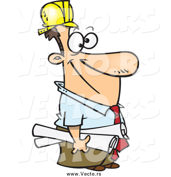 Vector of a Cartoon Happy White Male Construction Manager