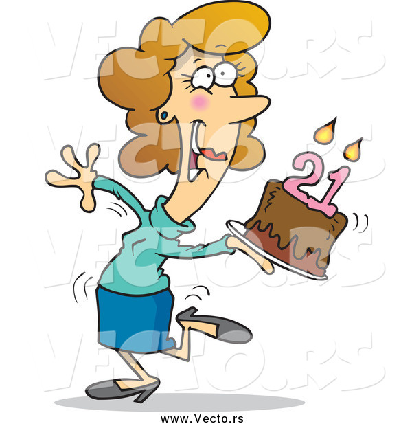 Vector of a Cartoon Happy White Woman Carrying a Birthday Cake with 21 Candles