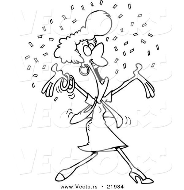 Vector of a Cartoon Happy Woman in Confetti - Outlined Coloring Page