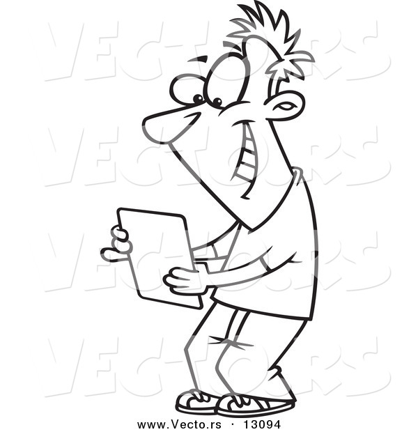Vector of a Cartoon Happy Young Man Using a Computer Tablet - Outlined Coloring Page