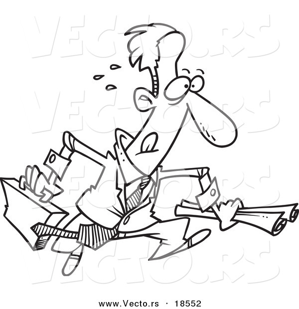 Vector Of A Cartoon Hasty Businessman Running Outlined Coloring Page By Ron Leishman 18552