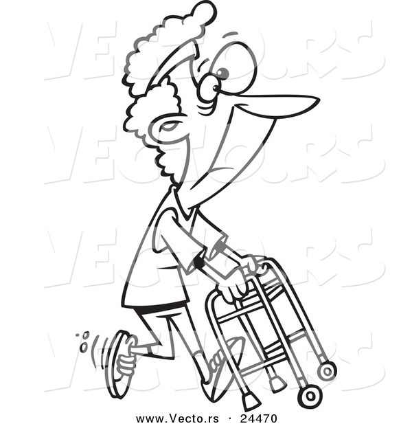 Vector of a Cartoon Healthy Granny Exercising with Her Walker - Outlined Coloring Page