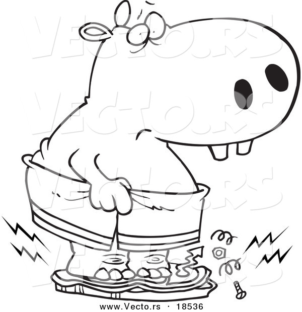 Vector of a Cartoon Heavy Hippo Crushing a Scale - Outlined Coloring Page