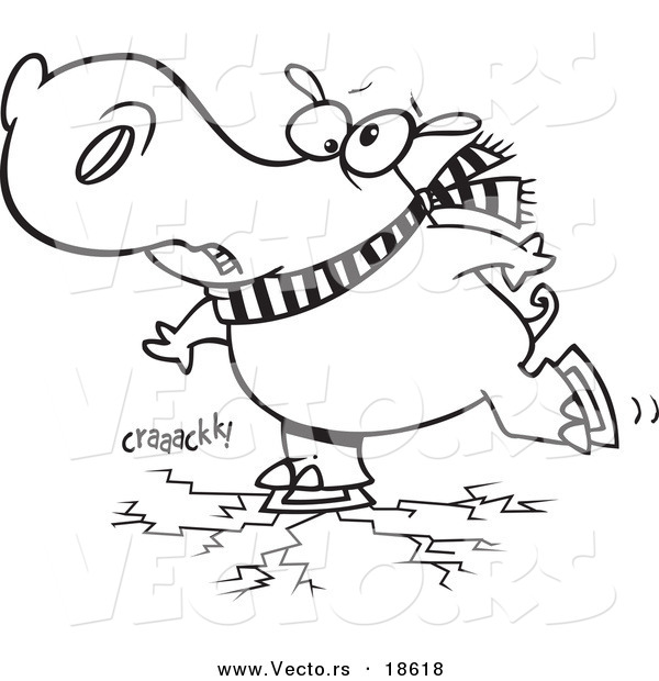 Vector of a Cartoon Hippo Skating on Cracking Ice - Outlined Coloring Page
