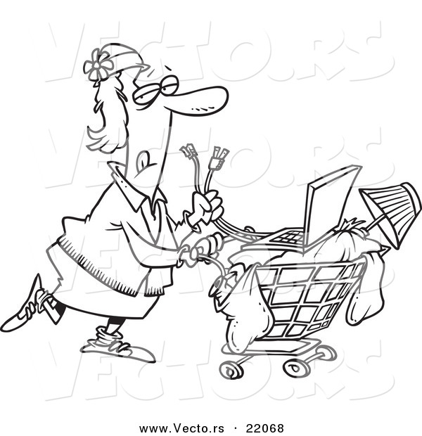 Vector of a Cartoon Homeless Woman Pushing a Laptop on Her Cart - Outlined Coloring Page