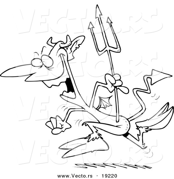 Vector of a Cartoon Hopping Devil - Outlined Coloring Page
