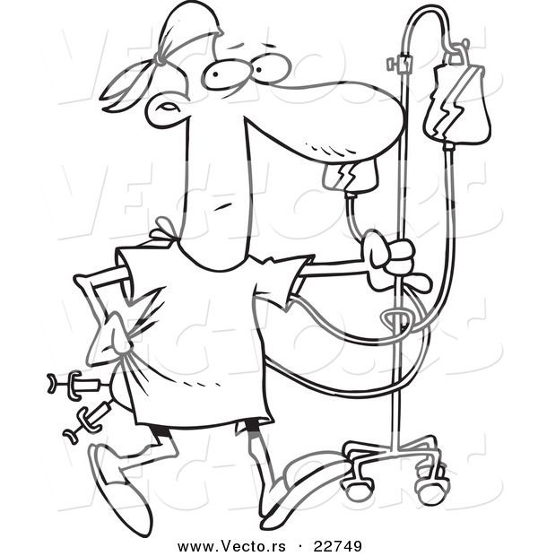 Vector of a Cartoon Hospital Patient with Needles in His Butt - Coloring Page Outline