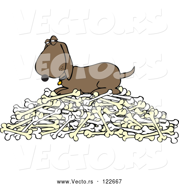 : Vector of a Cartoon Hound Dog Protecting Pile of Bones