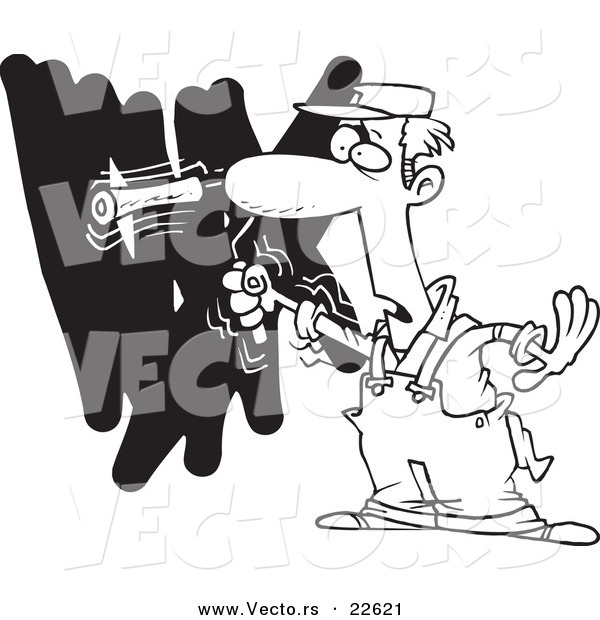 Vector of a Cartoon House Painter Painting a Wall - Coloring Page Outline