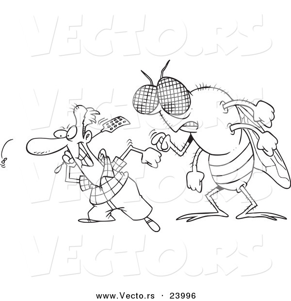Vector of a Cartoon Huge Fly Behind a Man Swatting Flies - Coloring Page Outline