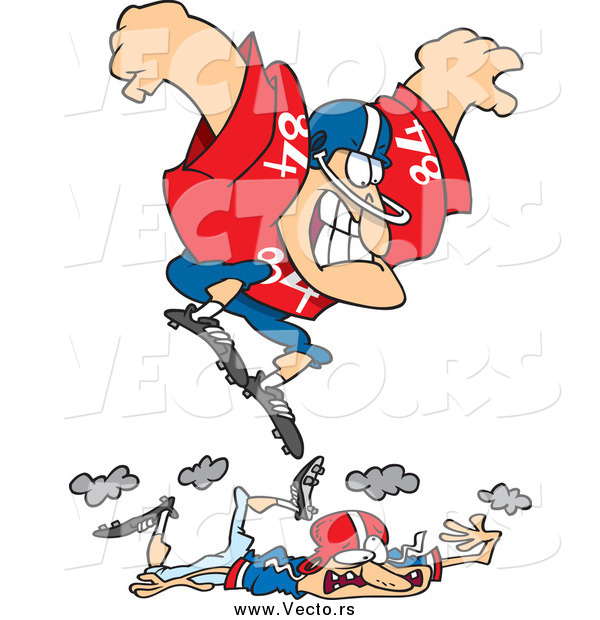Vector of a Cartoon Huge White Male Footballer Stomping on a Smaller Guy