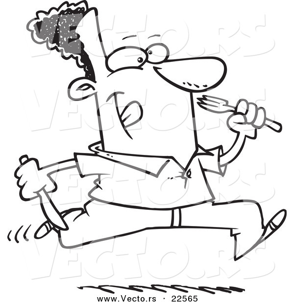 Vector of a Cartoon Hungry Black Man Running with Cutlery - Coloring Page Outline
