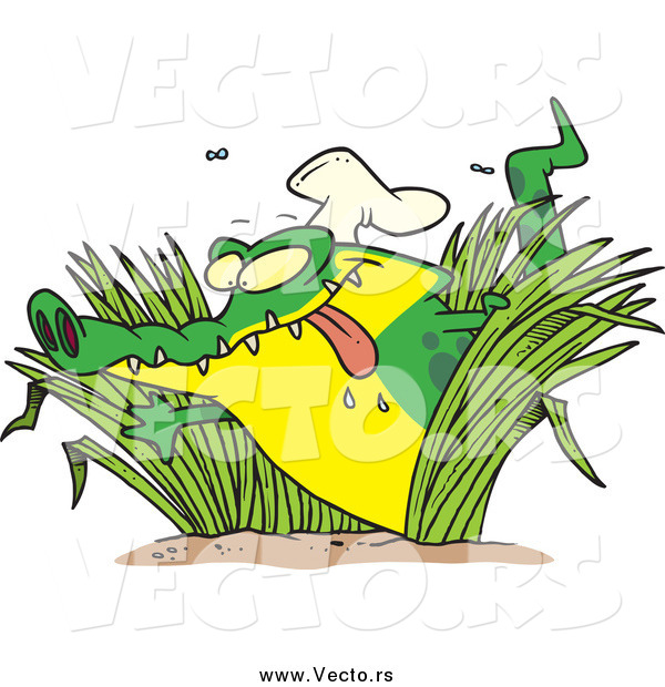 Vector of a Cartoon Hungry Chef Alligator in Grasses