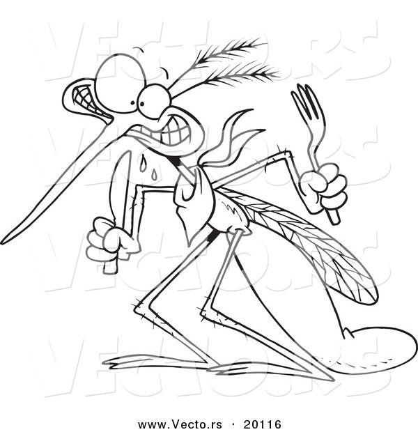 Vector of a Cartoon Hungry Mosquito - Outlined Coloring Page