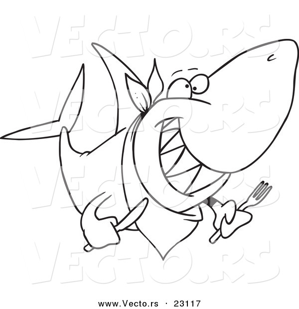 Vector of a Cartoon Hungry Shark - Coloring Page Outline