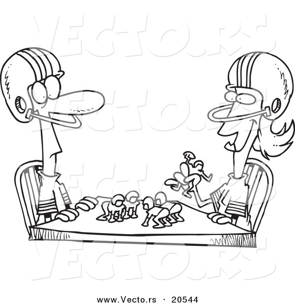 Vector of a Cartoon Husband and Wife Playing Table Football - Coloring Page Outline