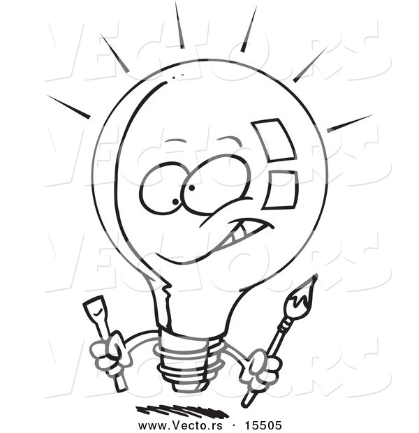 Vector of a Cartoon Innovative Light Bulb - Coloring Page Outline