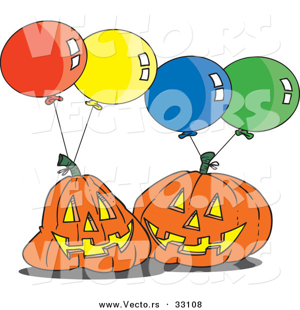 Vector of a Cartoon Jackolanterns with Halloween Party Balloons