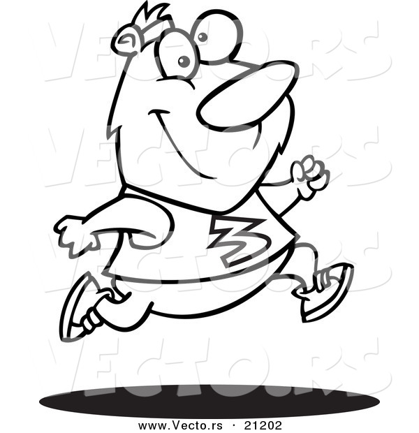 Vector of a Cartoon Jogger Bear - Coloring Page Outline